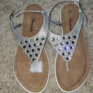 Silver bejeweled Never Worn Sandals.  Size 9